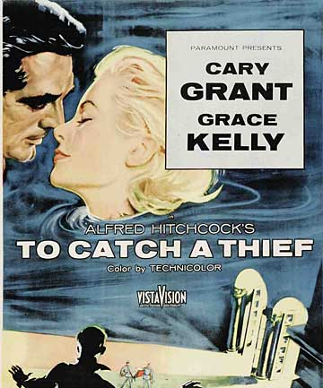 A movie poster from the Hitchcock classic about a retired jewel thief, filmed at the Carlton in Cannes.