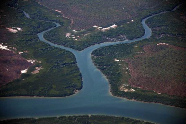 A river can be seen flowing through Arnhem Land, east of the city of Darwin in Australia's Northern Territory.
