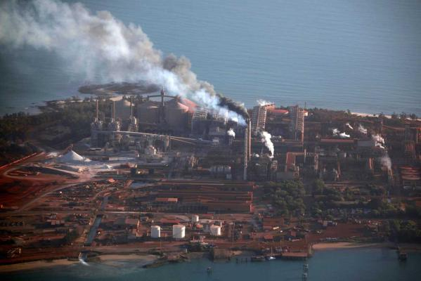 Smoke billows from chimneys at the Rio Tinto alumina refinery in Gove, also known as Nhulunbuy, located 650km east of Darwin in Australia's Northern Territory.
