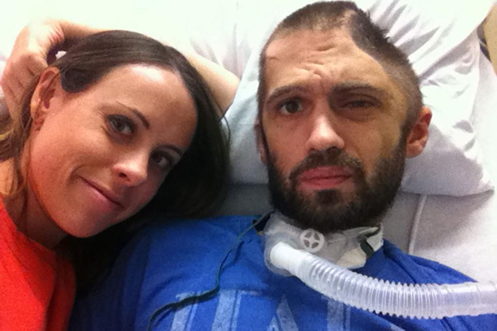 "Thomas ""TC"" Maslin and wife Abby Maslin in late 2012, a few months after he was assaulted with a baseball bat that crushed the left side of his head."