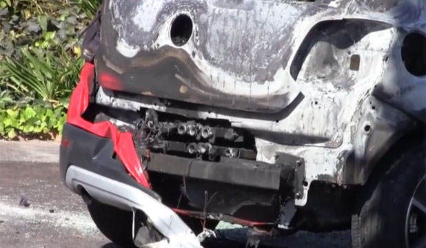 JAMES BOND-STYLE?: Barrels of a machine-gun are visible in this car after an attack in South Africa.