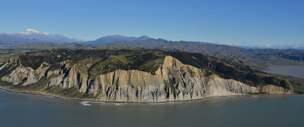 THE WIDE VIEW: Vernon Bluff between the Awatere Valley, on the left, and the Wairau Lagoons, on the right.