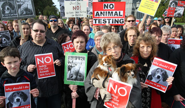 Animal lovers rally to fight testing bill
