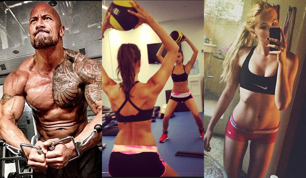 FITNESS SELFIES: The Rock, Irina Shayk and Ireland Baldwin share their gym sessions with the world (something most of us would shudder at the thought of doing).