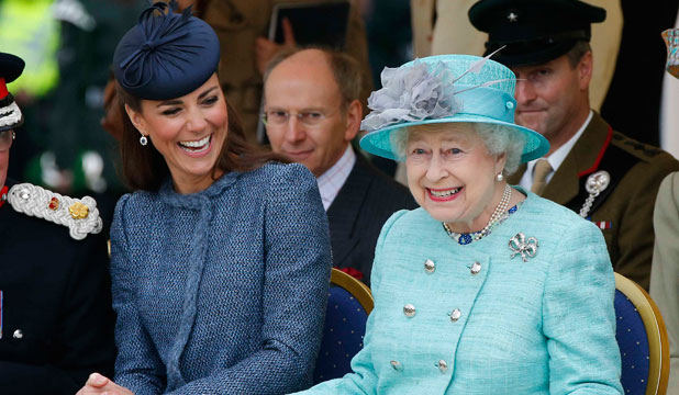 ROYAL INCLUSION: Kate Middleton and the Queen share a laugh pre-baby.
