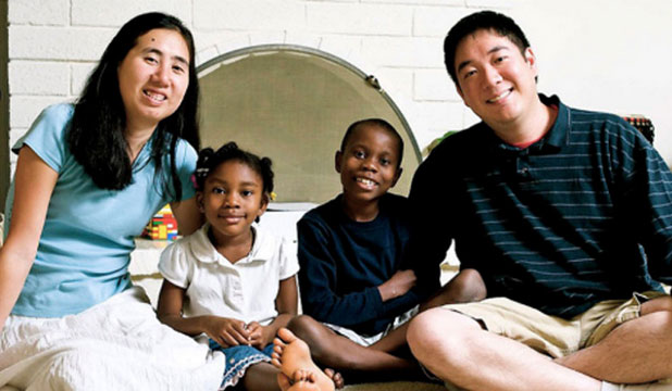 Matthew and Grace Huang and two of their children