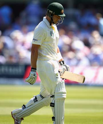OUT CHEAPLY: Shane Watson trudges back to the pavilion after being dismissed during the second test.