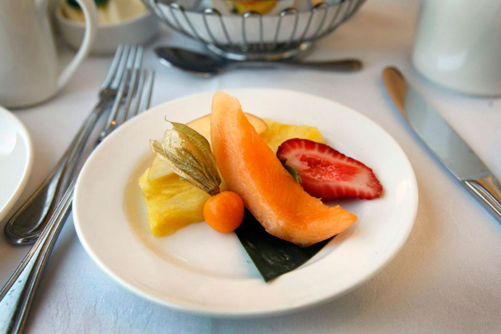 Fruit serves as the first course at breakfast on the Rocky Mountaineer train.