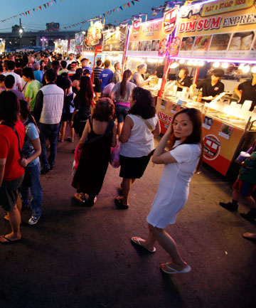 PLEASANTLY PACKED: Crowds pack the Asian night market in Richmond.