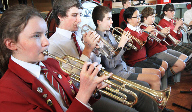 James Hargest College pupils practising the finale for the school's fundraising music fest concert, being held tonight. From left are Anna Redmond, Quinton Blaas, Tom Stewart, Tan Zhang, Lachlan Thwaites and Trinity Hayes.