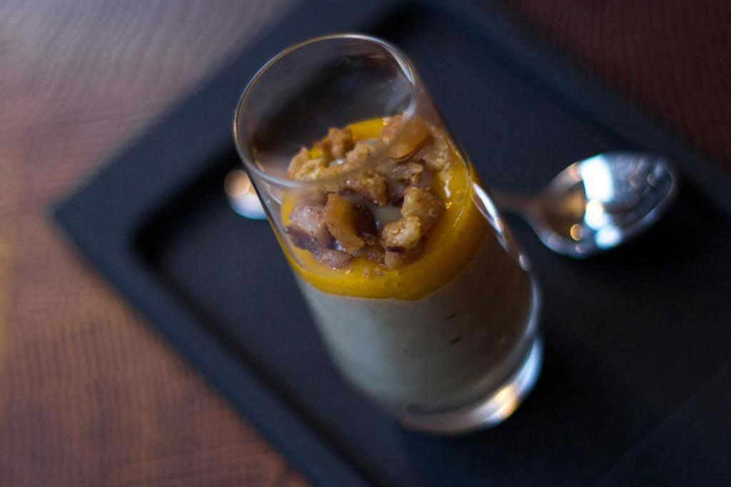 Foie gras mousse is paired with gooseberry and served in a tiny shot glass at the Marrow, a half-German, half-Italian meatery where the sauerbraten is even better than the steak.