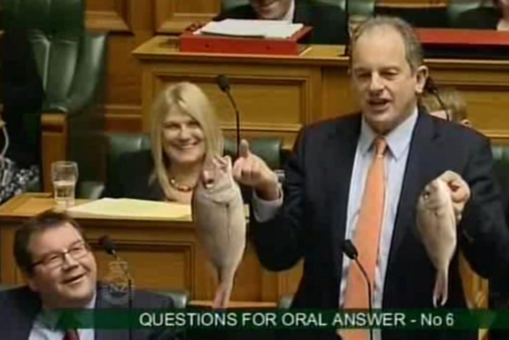 Oh the irony. David Shearer brandishes two dead fish in Parliament this week.