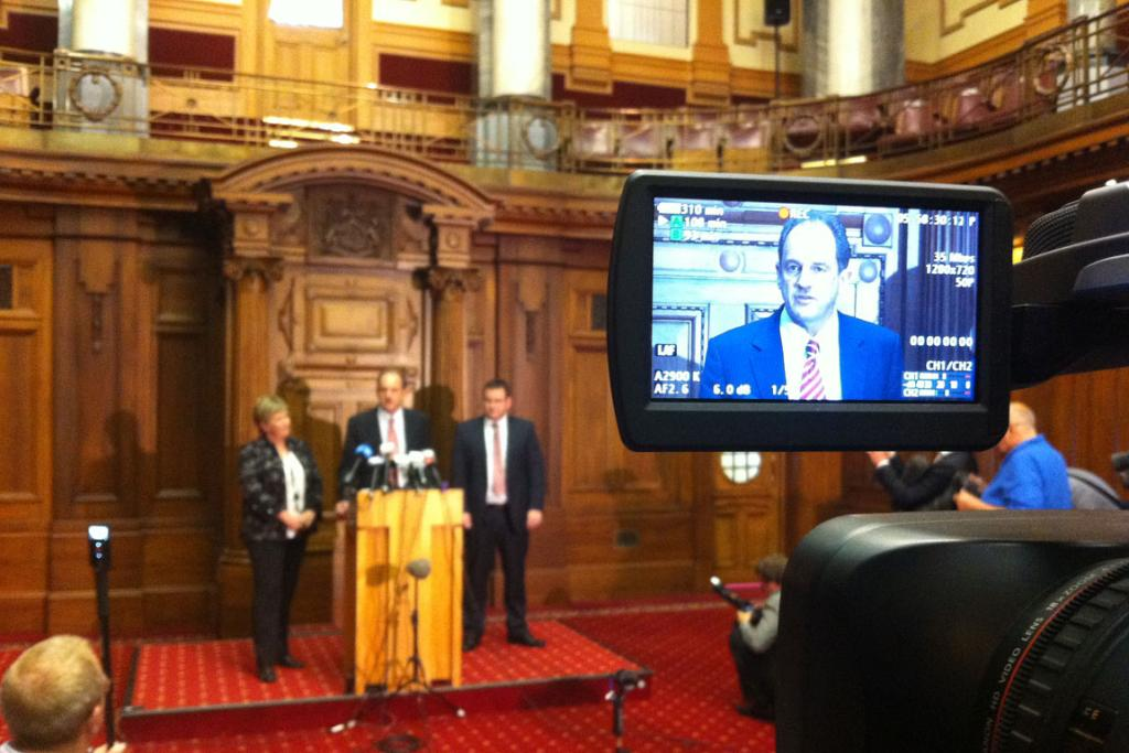 David Shearer announces his leadership of the Labour party in 2011.