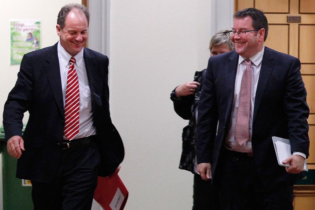 David Shearer, left, emerges with his deputy Grant Robertson in 2011.