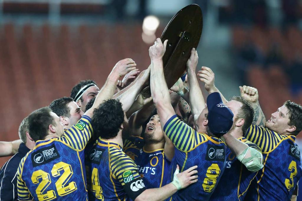 Otago players get their first touch on the Ranfurly Shield.