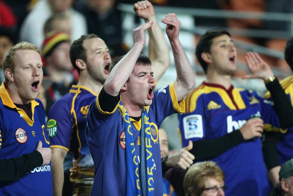 Otago fans, and one wearing a Highlanders jersey, show their support during the Shield challenge.