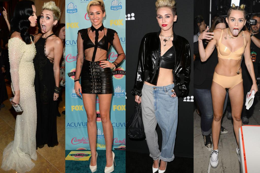 2013: The can't-keep-her-tongue-in-her-mouth, leather-loving, retro-styled at once brazen and yet entirely Snoozeville boring Miley Cyrus: she who continues to try to twerk, but just can't pull it off... Thoughts?