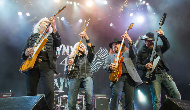 Lynyrd Skynyrd guitarists Mark Matejka, Ricky Medlocke, Gary Rossington and bass player Johnny Colt.