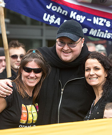 POLITICAL STANCE: Kim Dotcom at the anti-GCSB protests. The spying agency illegally intercepted a communication relating to him.