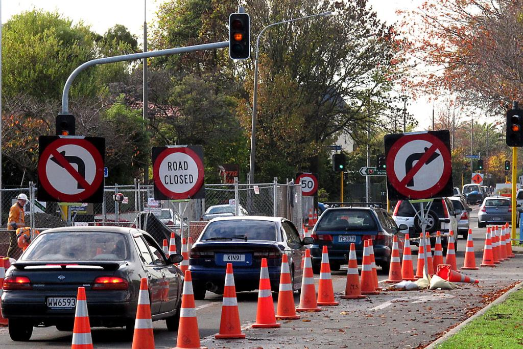 SIGN FATIGUE: Drivers navigate the cones on Bealey Ave, just past Colombo St intersection.