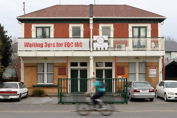 EQC sign on Barbadoes St