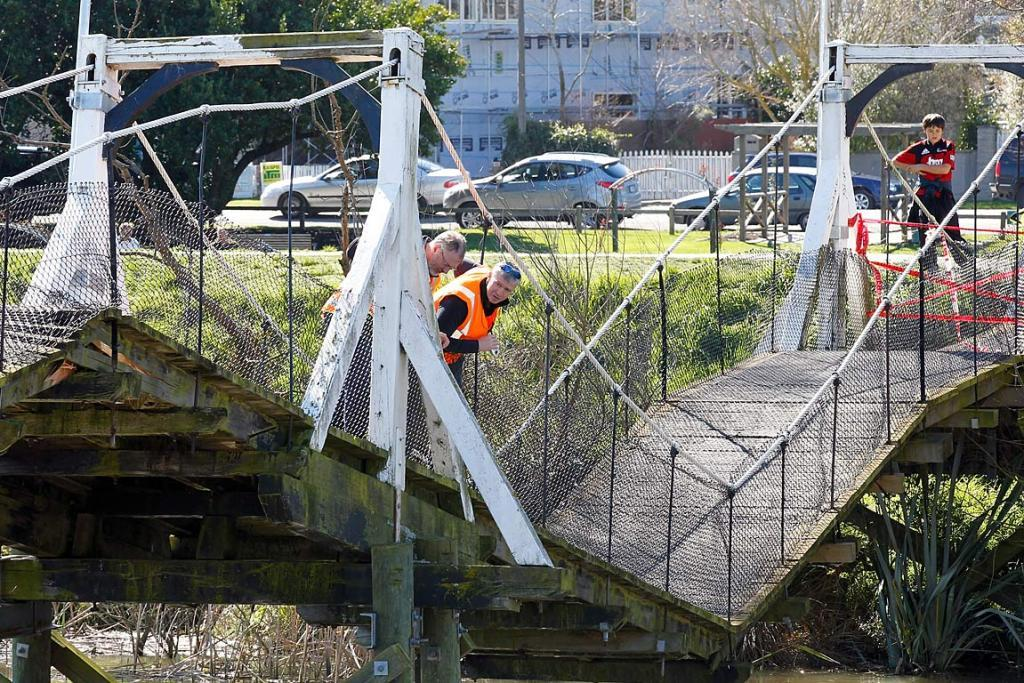 SWING BRIDGE: Over the Kaiapoi River near Christchurch (picture taken in 2010).