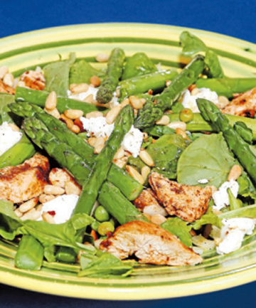 CRISPY TASTE: Paprika chicken with goat's cheese, pinenuts and fresh asparagus. Take care not to overcook asparagus.