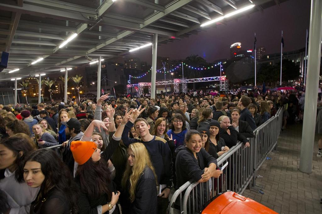Fans lineup for Lorde's free concert at Auckland's Vector Arena.