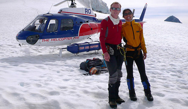 BLIND COURAGE: Neelu Memon, right, in training  with Gavin Lang for her latest challenge – climbing South America's highest mountain.