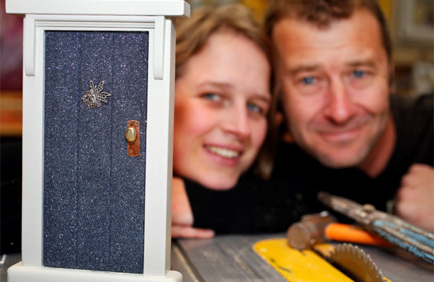 "Another world: Karin Brown and Stephen McEwen make ""fairy doors"" using found objects and recycled timber."