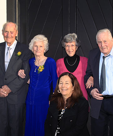 SIXTY YEARS ON: Noel and Margaret Hawkey celebrated their 60th wedding anniversary over the weekend with their original wedding party. The celebrations included visiting the former Bank St Methodist Church where they were married. At the former church were, from left, Noel Hawkey (groom), Margaret Hawkey (bride), Joan Dephoff (bridesmaid), Bryan Hawkey (best man) and Kathryn Marcus (flower girl) at front