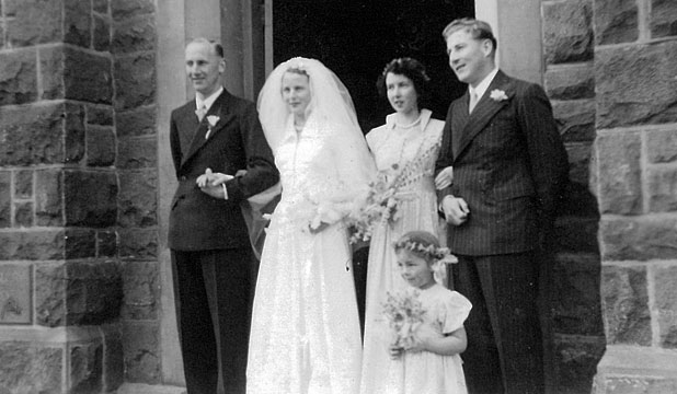 SPECIAL DAY: Noel and Margaret Hawkey with their wedding party on September 5, 1953 outside the then Methodist Church on Bank St.