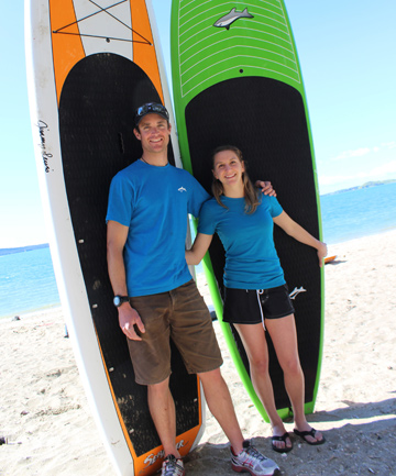 BEACH LIFE: Marius Lina and Rebecca Paley-Williams of Mission Bay Watersports.