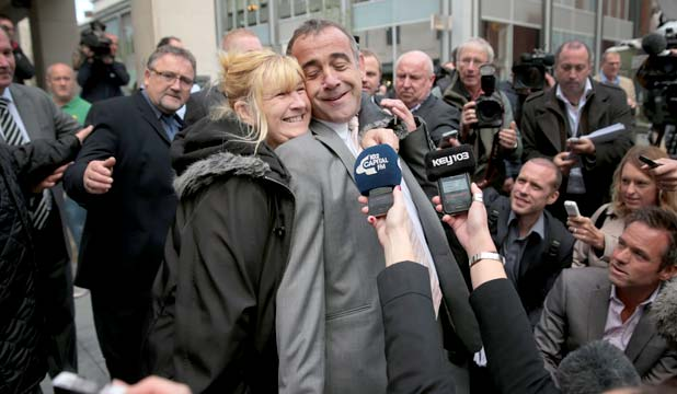 'I MIGHT HAVE A DRINK': Michael Le Vell, who plays Kevin Webster in Coronation Street, is embraced by friends as he makes a statement to the press after being found not guilty.