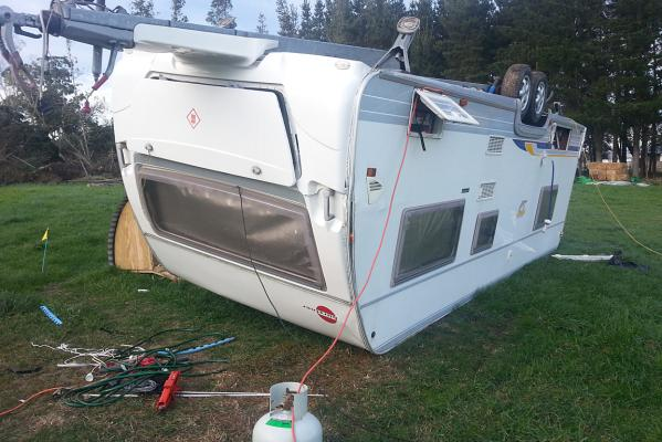 Caravan flips in Leeston