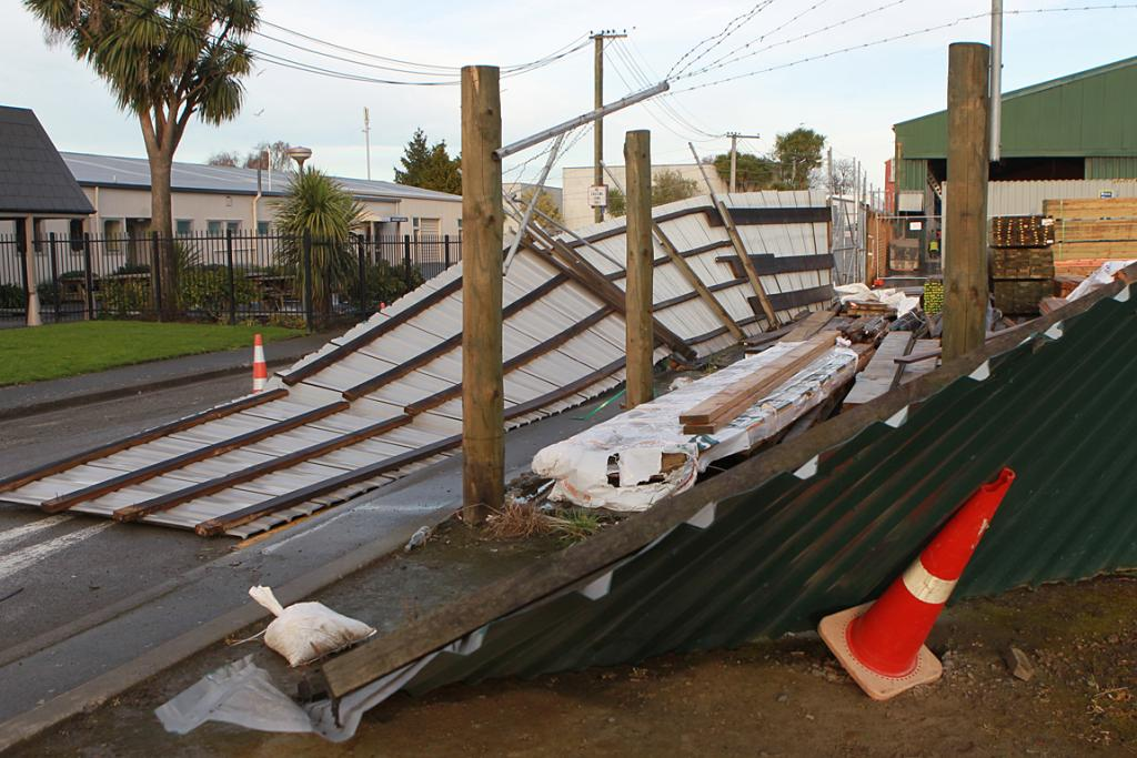 Fence blown down in Christchurch