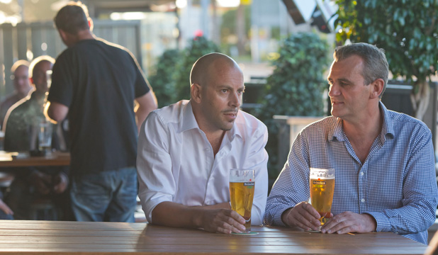 CHEERS: Dave Catchpole, left, and business partner John Hellebrekers from the Barworks Group enjoy a beer at the Zookeeper's Son in Royal Oak, Auckland.