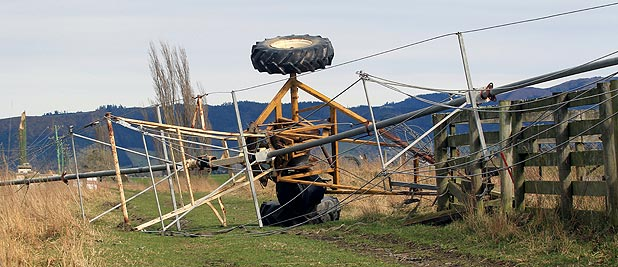 TIPPED OVER: An irrigator in South Canterbury lies on its side after being rolled over by strong winds.