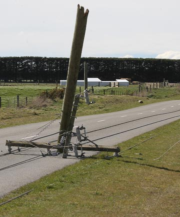POWER CUT: Snapped power poles in South Canterbury close to Fonterra's Clandeboye dairy factory.