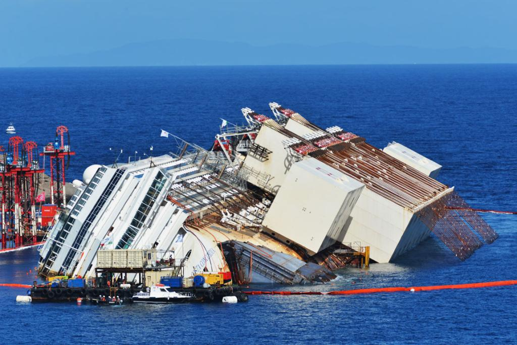 Cables were used to pull the Costa Concordia upright in the water in an exercise known as parbuckling.