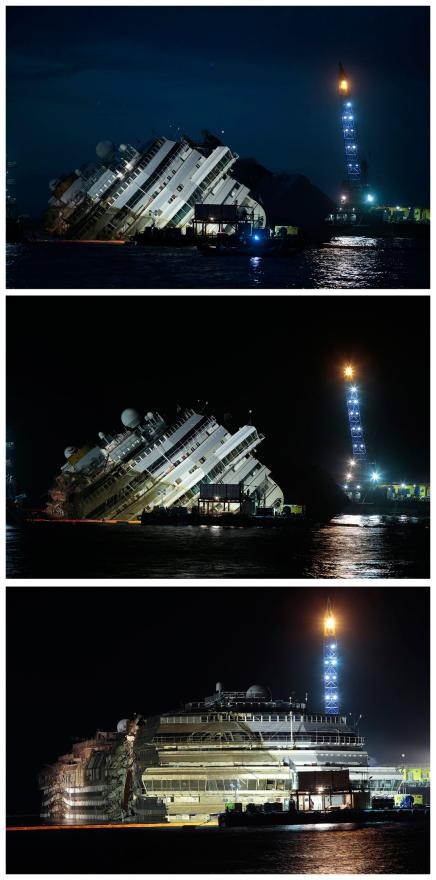 Three photos show the progression of the Costa Concordia from capsized to upright in 19 hours.