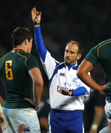 GET OVER IT: Romain Poite's actions and multiple decision-making blunders overshadowed the All Blacks victory, but he didn't favour the All Blacks.