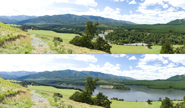 BEFORE AND AFTER: An image of the Ruataniwha dam