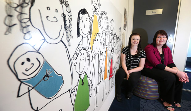 IN SUPPORT: Child Youth and Family Invercargill care and protection social workers Nicole Buchanan, left, and Ricki-Lee Earwaker, both 22,  marked National Social Workers' Day yesterday with their colleagues.