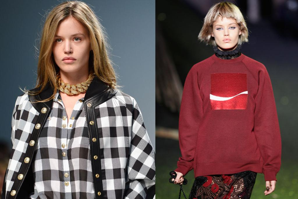 GEORGIA: May-Jagger's natural beauty shines through at Balmain, while she looks like a different person at Marc Jacobs.
