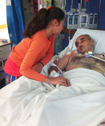 Fady Taiba unconscious in hospital with his niece, Jasmin.