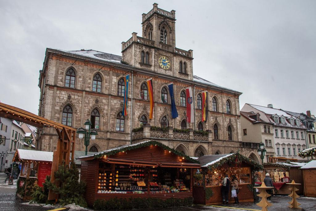 Weimar's Christmas Market in Germany is set up by city hall.