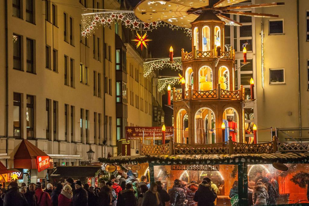 """A giant-sized """"pyramid,"""" replicates the traditional table-top Christmas decoration in Germany."""