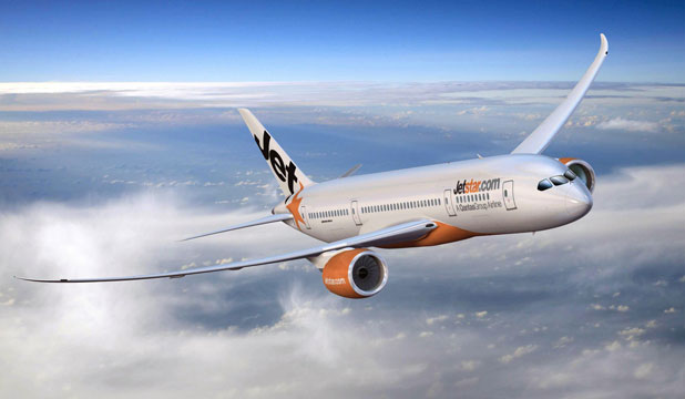 STATE-OF-THE-ART: An artist's impression shows a Boeing 787-8 in Jetstar International livery.