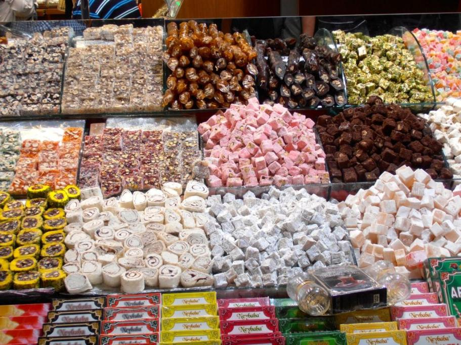 A sample of all the Turkish Delight and Nougat in this amazing place, the spice markets in Istanbul. The aromas were just incredible.
